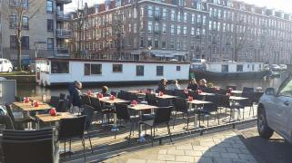 Enjoying some good food while chilling on the canal at Van Lennep