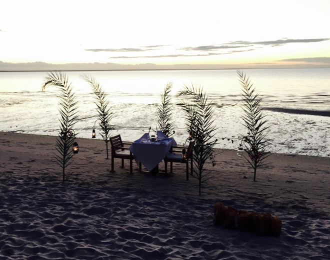 ....Julio had set up a very special table on the beach for us. Just us, and the sound of the ocean. What a way to start our stay!
