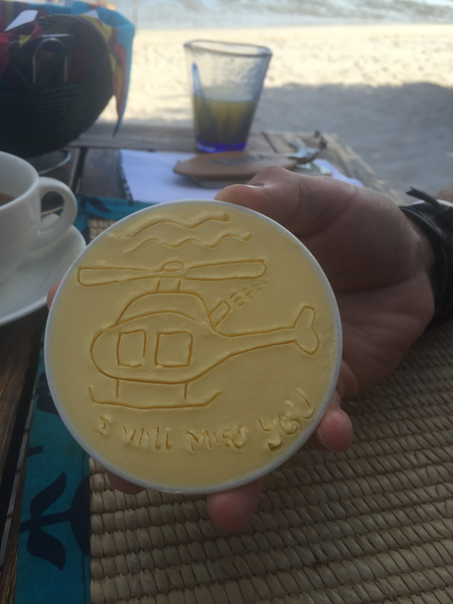Julio made us a little drawing on the butter every evening. Saying goodbye is never easy! But this time we know we would come back... We just need more Azura time!